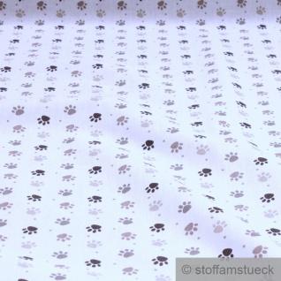 Stoff Kinderstoff Baumwolle weiß Pfoten Tatzen Baumwollstoff weich leicht Pfote