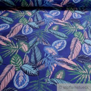 Stoff Baumwolle Polyester kobaltblau Dschungel Palme Blatt Blätter blau