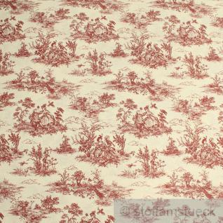 Stoff Baumwolle Polyester Toile de Jouy ländlich ecru rot 280 cm breit