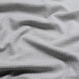 0, 5 Meter Stoff Bio-Baumwolle Jacquard Jersey Fischgrat hellgrau 3D-Optik - Vorschau 2