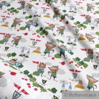0, 5 Meter Kinderstoff Baumwolle Elastan Single Jersey off-white Robin Hood Burg