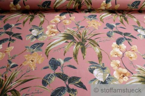 Stoff Baumwolle Satin lachs Orchidee Baumwollsatin Baumwollstoff