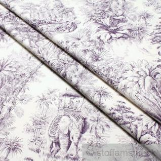 Stoff Baumwolle ecru Indischer Dschungel flieder 280 cm Elefant Königstiger