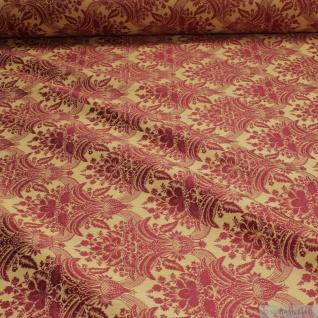 Stoff Polyester Baumwolle Jacquard Ornament gold bordeaux 280 cm breit
