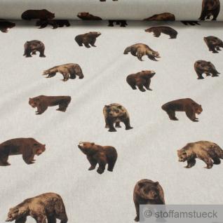Stoff Kinderstoff Baumwolle Polyester Rips natur Bär Braunbär