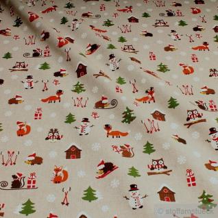 Stoff Weihnachtsstoff Baumwolle Polyester Rips natur Winter Schneemann Eule