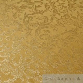 Stoff Polyester Jacquard Ornament gold gold Lurex Goldbrokat Barock Rokoko 280 cm überbreit - Vorschau 3