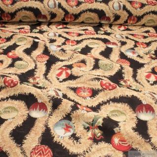 Stoff Weihnachtsstoff Baumwolle Polyester Gobelin Weihnachtskugeln