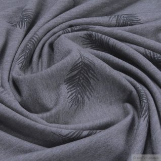 Stoff Baumwolle Polyester Elastan Single Jersey dunkelgrau meliert Feder grau