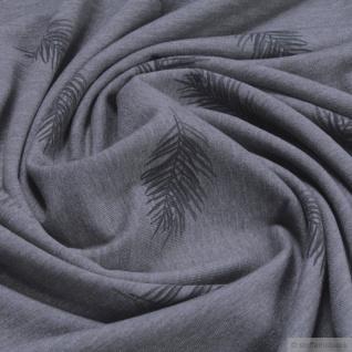 Stoff Baumwolle Polyester Elastan Single Jersey dunkelgrau meliert Feder