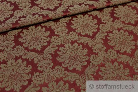 Stoff Baumwolle Polyester Jacquard bordeaux Ornament gold 280 cm breit