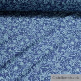 0, 5 Meter Stoff Baumwolle Elastan Single Jersey kobaltblau Blume türkis blau - Vorschau 2