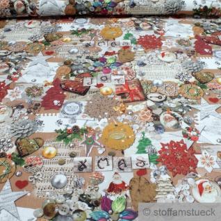 Stoff Weihnachtsstoff Baumwolle Rips Weihnachtsbastelei Weihnachten Basteln