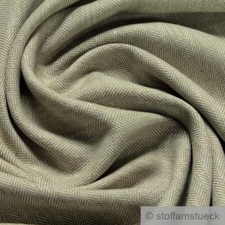 Stoff Leinen Baumwolle Feinköper Fischgrat Streifen moos weiß fein leicht
