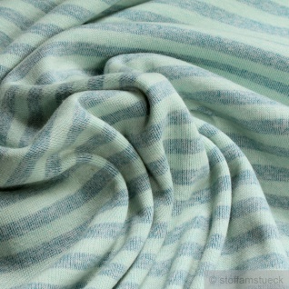 Stoff Polyester Bambus Baumwolle Interlock Jersey Streifen aqua pastelltürkis