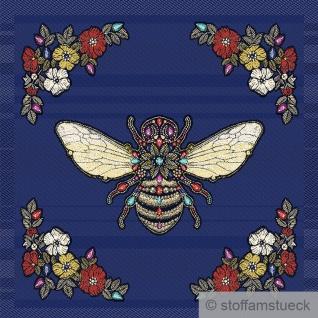 Stoff Kissen Panel Polyester Baumwolle Gobelin marine Biene 50 x 50 cm