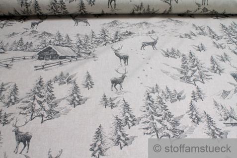 Stoff Baumwolle Polyester Rips natur Gebirge Berg Hirsch Wald Winterlandschaft
