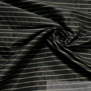 2 Meter Stoff Polyester Baumwolle Streifen anthrazit beige Vorhangstoff fest