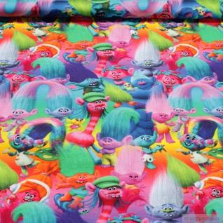 Stoff Kinderstoff Baumwolle Elastan Single Jersey Trolls Digitaldruck