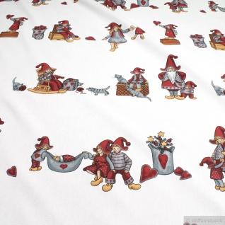 Stoff Baumwolle Rips weiß Kinder Weihnachtsstoff Kind Herzchen