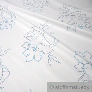 Stoff Polyester Baumwolle Köper weiß Blätter pflegeleicht
