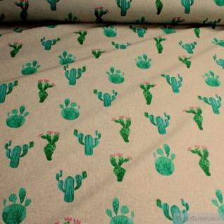 Stoff Baumwolle Polyester Rips natur Kaktus nicht stachelig ! Kakteen