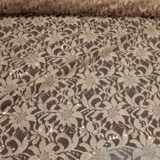 Stoff Polyamid Polyester Elastan Spitze beige Blume Pailletten fließend haut