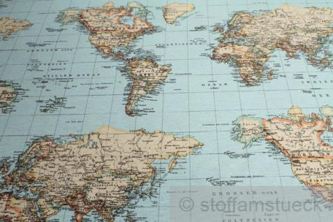 Stoff Baumwolle Polyester Weltkarte Landkarte Karte Kontinent