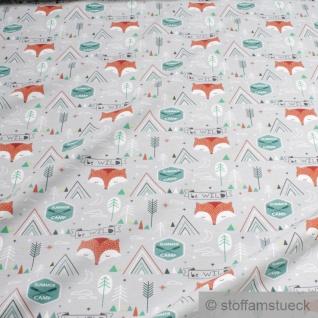 Stoff Kinderstoff Baumwolle Elastan Single Jersey hellgrau Fuchs