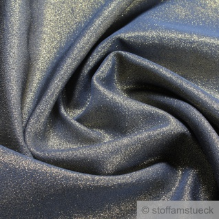 Stoff Polyester Lurex blau gold 280 cm breit Glitzer Glitter