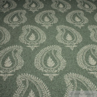 Stoff Wolle Polyamid Flanell Paisley oilv grau angeraut weich blickdicht