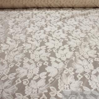 Stoff Polyamid Polyester Elastan Spitze champagner Blume fließend fallend weich