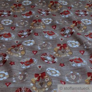 Stoff Weihnachtsstoff Baumwolle braun Kranz Baumwollstoff weich leicht Türkranz