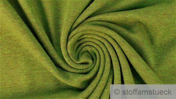 Stoff Baumwolle Polyester Elastan Single Jersey Melange grün meliert limette