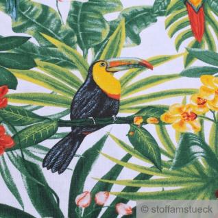 Stoff Baumwolle weiß Dschungel Papagei breit 280 cm Blatt Blätter Palme - Vorschau 3