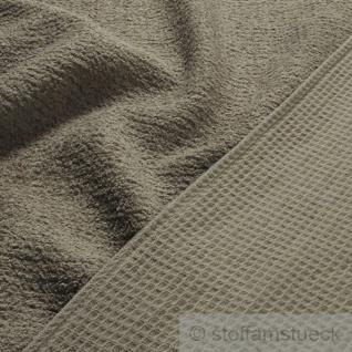 Stoff Baumwolle Frottee Waffelpiqué dunkelbeige beige Waffelpikee Waffelpique