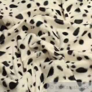 Stoff Polyester Plüsch Dalmatiner schwarz weiß weiss Fellimitat Fell velboa