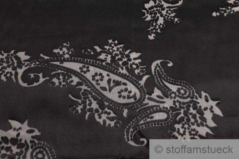 Stoff Polyester Satin schwarz Ausbrenner Paisley transparent - Vorschau 2