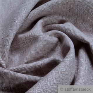 Stoff Leinen Baumwolle Feinköper Fischgrat Streifen braun weiß fein leicht