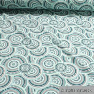 0, 5 Meter Stoff Baumwolle Elastan Single Jersey Kreis grau türkis 70'er Jahre