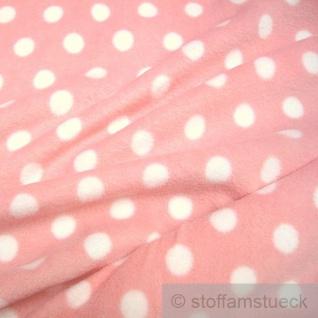 Stoff Polyester Fleece Punkte rosa weiß Dots weich Polar Fleece Antipilling