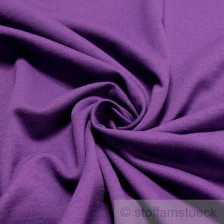 0, 5 Meter Stoff Baumwolle Single Jersey angeraut lila Sweatshirt weich dehnbar