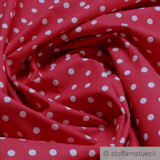 Stoff Baumwolle Punkte klein rot weiß Tupfen Baumwollstoff 160 cm