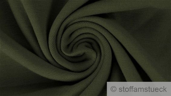0, 5 Meter Stoff Baumwolle Elastan French Terry oliv Sommer Sweat Jersey