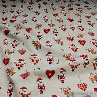 Stoff Baumwolle Polyester Rips natur Weihnachtsmann Elch Herzchen Nikolaus