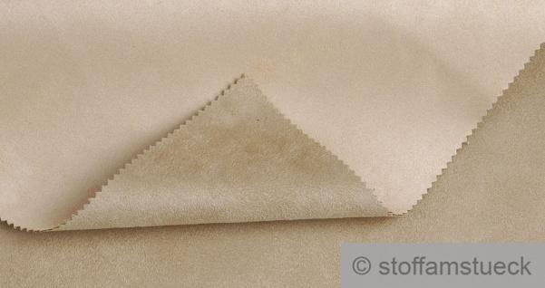 Stoff Polyester Kunstleder Wildleder double face beige sand Wildlederimitat