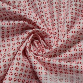 Stoff Baumwolle Popeline Kreise weiß rot Baumwollstoff Kreis Punkt