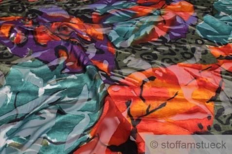 Stoff Polyester Chiffon bunt Blume transpartent leicht große Blumen