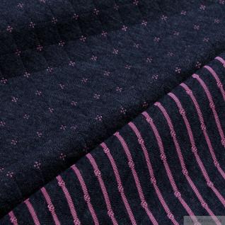 Stoff Baumwolle Polyester Doubleface Jersey dunkelblau pink Stepper Streifen