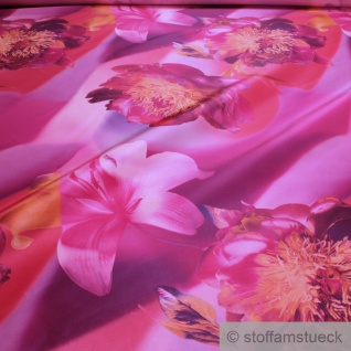 Stoff Polyester Kleidertaft pink Orchidee lila Taft bedruckt blickdicht